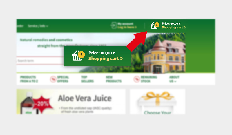 Access your shopping cart here.