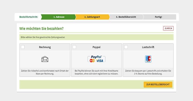Zahlen Sie per Rechnung, PayPal/Kreditkarte oder Lastschrift