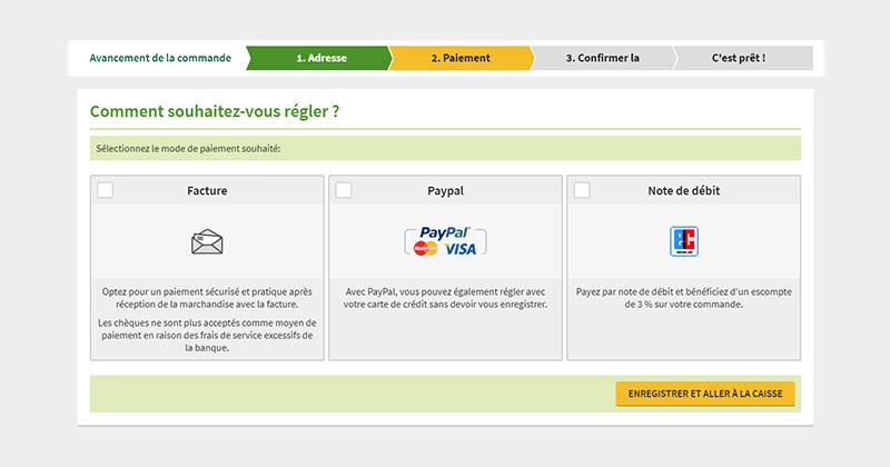 Payez par facture, PayPal/carte de crédit ou prélèvement.
