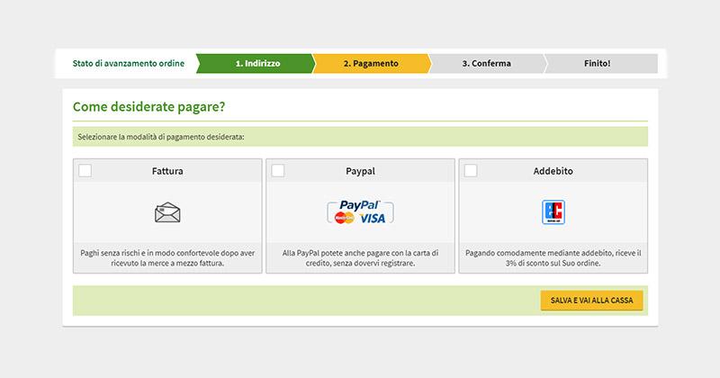 Pagamento mediante fattura, PayPal/carta di credito o in addebito