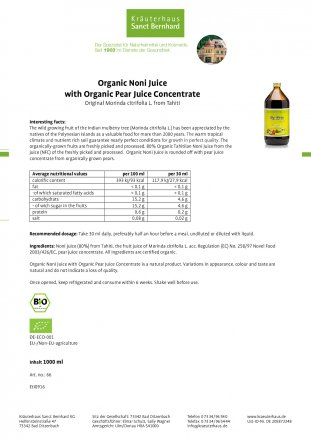 Organic-Noni Juice with Organic-Pear Juice Concentrate