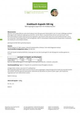 Knoblauch-Kapseln 500 mg 180 Kapseln