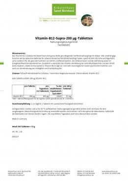 Vitamin-B12-Supra-200 µg-Tabletten 240 Tabletten