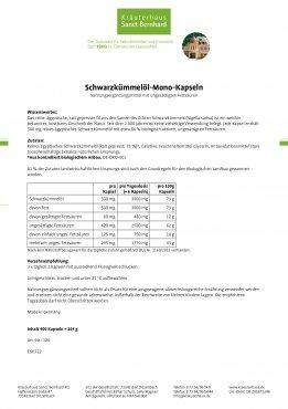 Schwarzkümmelöl-Mono-Kapseln 400 Kapseln