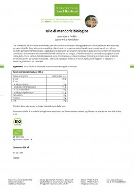 Olio di mandorle biologico 250 ml