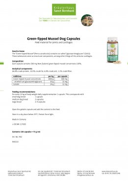 Green-lipped Mussel Dog Capsules 170 capsules