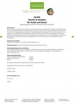 tierlieb Vitamin-B-Komplex für Hunde und Katzen 120 Kapseln