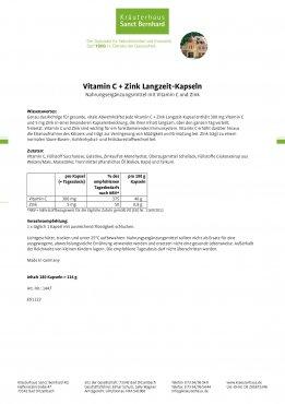 Vitamin C+Zink Langzeit-Kapseln 180 Kapseln