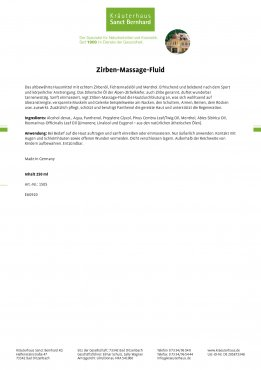 Zirben-Massage-Fluid 250 ml